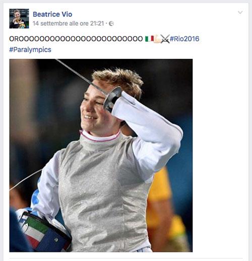 post Facebook della vittoria di Beatrice Bebe Vio a Rio 2016